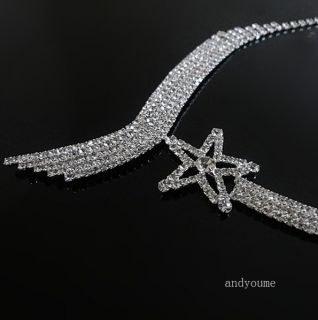 Swarovski Crystal Wedding Party Bridal Jewelry Set Tassel Necklace Earring 0032D
