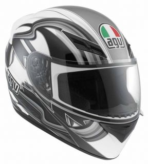 Agv K3 Chicane Full Face Race Street City Motorcycle Helmet White Gunmetal Black