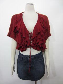 Moth Anthropologie Dark Red Tie Front Ruffle Feminine Cape Shrug Sweater Sz M L