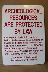 Vintage Bureau of Reclamation Archeological Resources Sign Hunting Fishing E