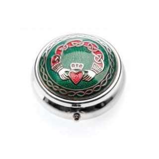 Enameled Irish Claddagh Pill Box with Celtic Knots Green Red