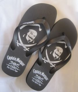 CPT Captain Morgan Rum Black Pirate Flip Flop Thong Sandal Beach Pool Deck Shoe