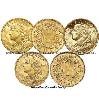 Lot of 5 Swiss 20 Franc Helvetia World Gold Foreign Bullion Coins Switzerland