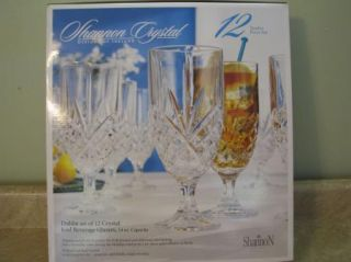 New Shannon Crystal Iced Bev Glasses 12 Goblets Ireland Water Set Lot