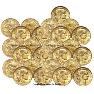 Lot of 25 BU French 20 Franc Gold Roosters Fractional Bullion Coins 1906 1914