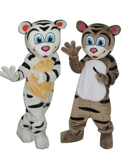 White Tiger and Brown Tiger 2 Cartoon Mascot Costumes
