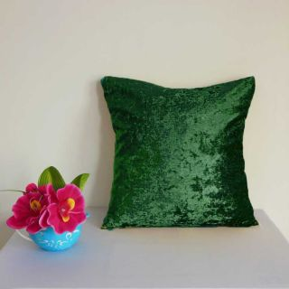 Forest Green Crushed Stretchy Velvet Style Cushion Cover Custom Size U60CC 587