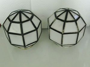 Vintage White Milk Glass Deco Globes Ceiling Fixture Light Ball Shade