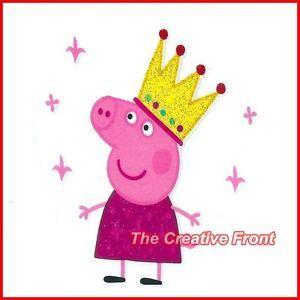 Peppa Pig Queen Princess DIY Iron on Glitter T Shirt Heat Transfer New