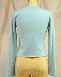 Anthropologie Paisley Silk Panel Cashmere Cardigan Sweater Aqua Teal Brown S