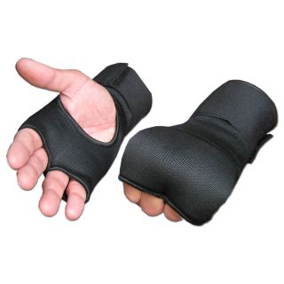 Black Padded Muay Thai Boxing Inner Gloves Hand Wraps