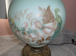 Antique Victorian Oil Lamp Electric Painted Glass Globes Hurricane Lamp Signed