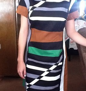 New Derek Lam Graphic Surf Parrot Striped Sheath Dress Design Nation Sz 6