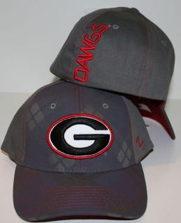 Georgia Bulldogs Gray Tartan Flex Fitted Hat by Zephyr