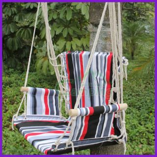 Outdoor Camping Hammock Canvas Wooden Stick Swing Chair Big Stripes Colorful