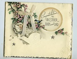 Vintage Greeting Card Newborn Baby Boy Girl Congratulations Mother and Dad