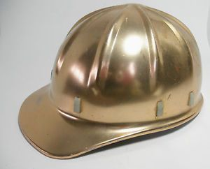 "Vintage Aluminum 1959 Hard Hat Adjustable Headgear Type ""C"" Gold Color Hat Cap"