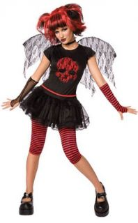 Women's Gothic 6pc Red Black Angel Fairy Goth Halloween Costume Size 10 12 Adult