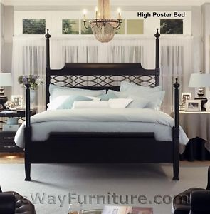 New American Federal Queen Black Wood Four Poster Bed Bedroom Furniture