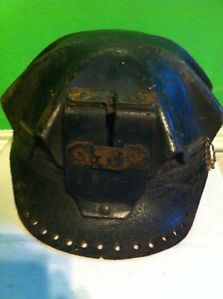 Vintage Coal Miners Leather Turtle Shell Cap Hard Hat Helmet 1930s