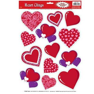 Valentines Day Heart Glass Window Cling Decorations
