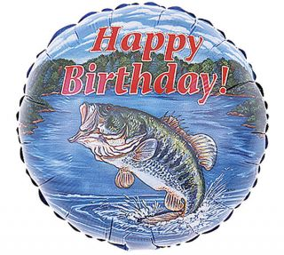 "2 18"" Bass Fish Happy Birthday Fishing Party Balloon Mylar Dad Fisherman"