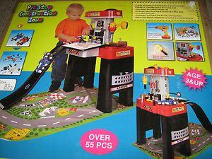 New Kid's Race Car Pit Stop Construction Zone Toy Mechanic Workshop w Race Car
