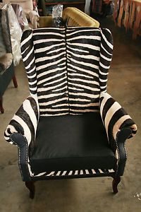 ... Zebra Hide Wingback Chair Zebra Skin 3 Seater Couch ...