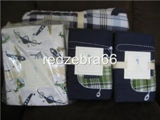 Pottery Barn Kids Brody Helicopter Full Queen Quilt 2 Standard Shams Set New