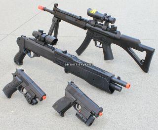 New Lot 4 Airsoft Gun Sniper Rifle Air Soft Shotgun Pistol Toy Handgun w 1K BBs