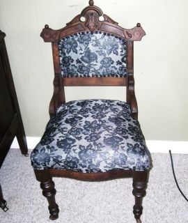 Antique 19th Century Hand Carved Petite Vanity Chair on Casters Original Finish