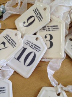 French Design Ivory Ceramic Number Tag Aged Ribbon Vintage Charm Apothecary Gift