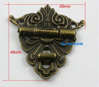 4 Antique Brass Decorative Hasp Jewelry Box Hasp Lock Latch 45x48mm with Screws