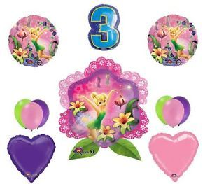3rd Birthday Tinkerbell Flower Balloons Party Supplies Princess Hearts Third