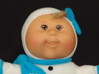 2007 Winter Snowflake White Snowsuit Blue Scarf Cabbage Patch Kids Baby Doll Toy