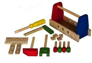 17 Pcs Wooden Toolbox Wood Tool Box Kit Builders Work Case Childs Kids Play Toys