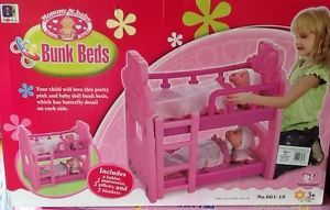 """Pink Kids Baby Doll Bunk Beds Bedding Twin Fit 18"""" American Girl Pretend Toy Set"""