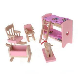 Pink Dollhouse Furniture Wooden Toy Kids Play Bed Room Colorful Well Made Sets