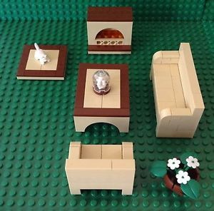 Lego Family Living Room Custom Couch Fireplace Table Cat Rug Chair House City