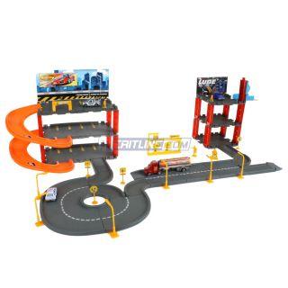 Auto Service Center Parking Super Garage Playset Toy w 4 Four Die Cast Vehicles