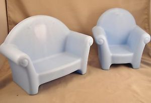 Little Tikes Blue Couch and Chair Barbie Doll Size Nice
