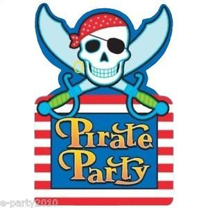 8 Pirate Skull and Crossbones Invitations Birthday Party Supplies Invites