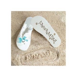 Just Married Flip Flops Stamp Your Message in Sand Medium White Honeymoon Gifts