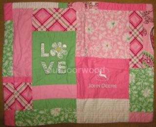 John Deere Girl Pink Love Full Queen Quilt Set with Quilt Sham