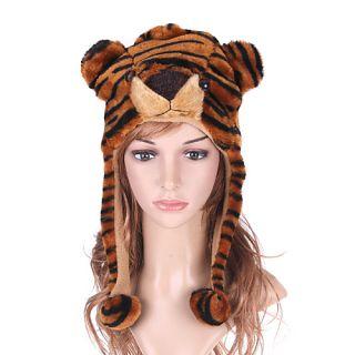 Cartoon Animal Cute Fluffy Tiger Plush Hat Cap