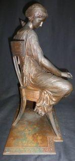 "Antique 1860s French Pradier School 18"" Bronze Statue Ancient Grecian Lady"