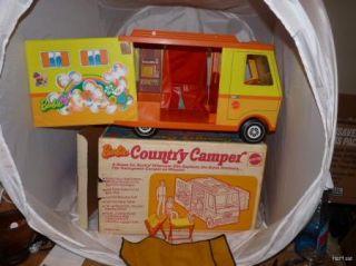 Vintage Barbie 1970 Country camper Original Box Chairs Sleeping Bag Windshield