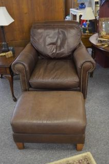 ... Broyhill Brown Leather Chair And Ottoman With Nail Head Accents ...