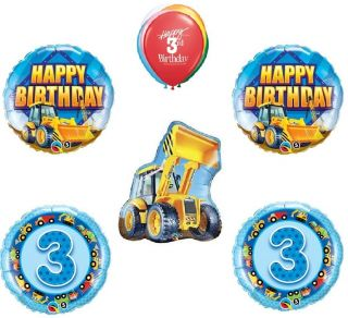 Bull Dozer Construction Trucks Yellow 3rd Birthday Party Mylar Latex Balloons