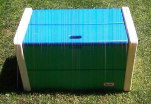 Little Tikes Blue Green White Child Size Toy Box and Lid